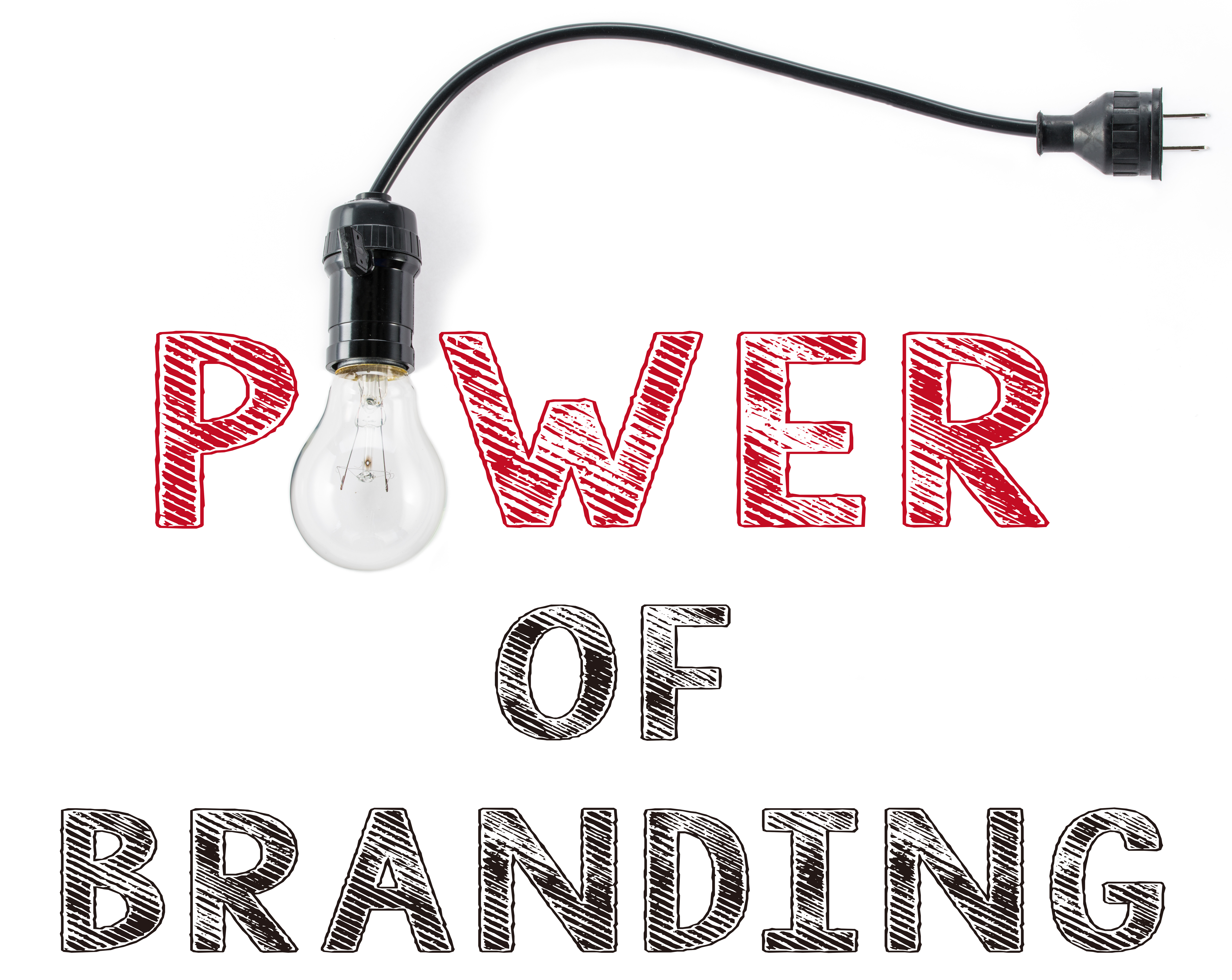 power of branding phrase and light bulb, hand writing, business Marketing target